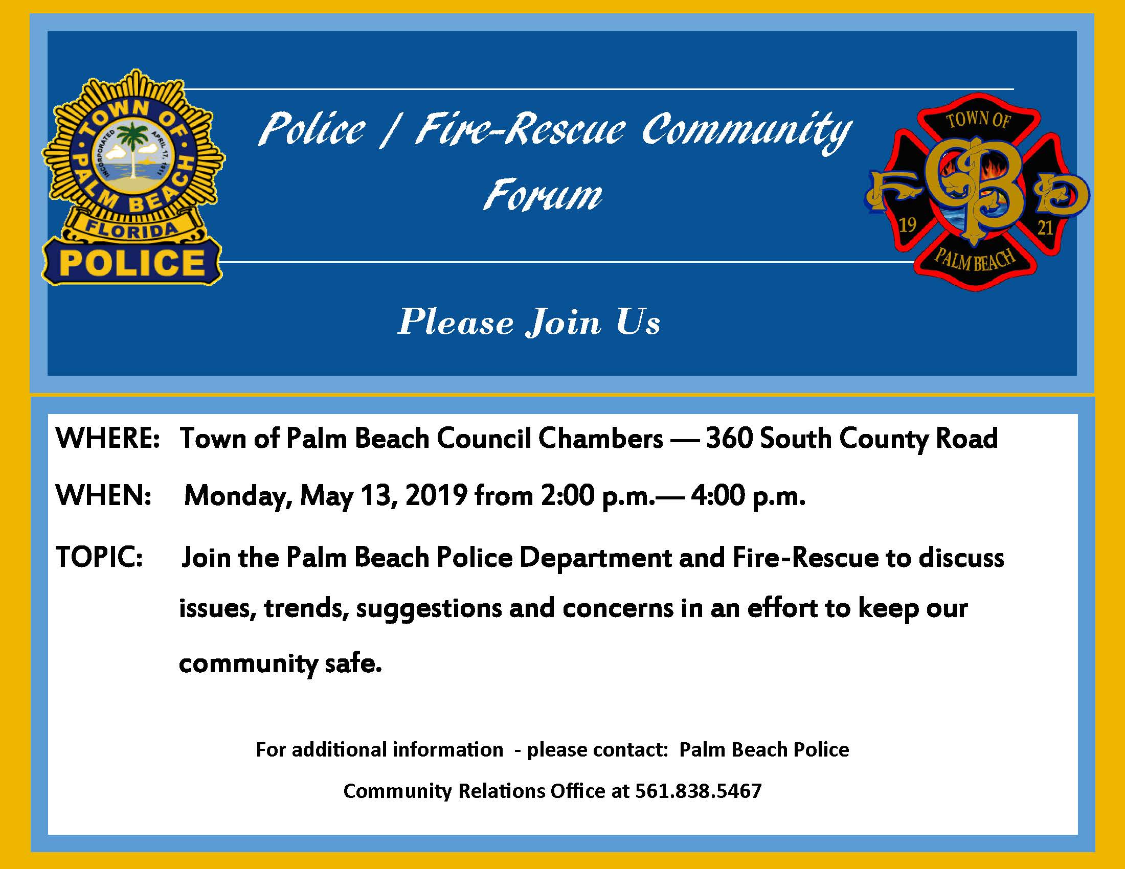 Police - Fire Forum - Gold Border